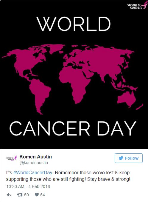 "World Cancer Day Tweet: @komenaustin ""It's #WorldCancerDay. Remember those we've lost & keep supporting those who are still fighting! Stay brave & Strong!"" 2/04/2016"